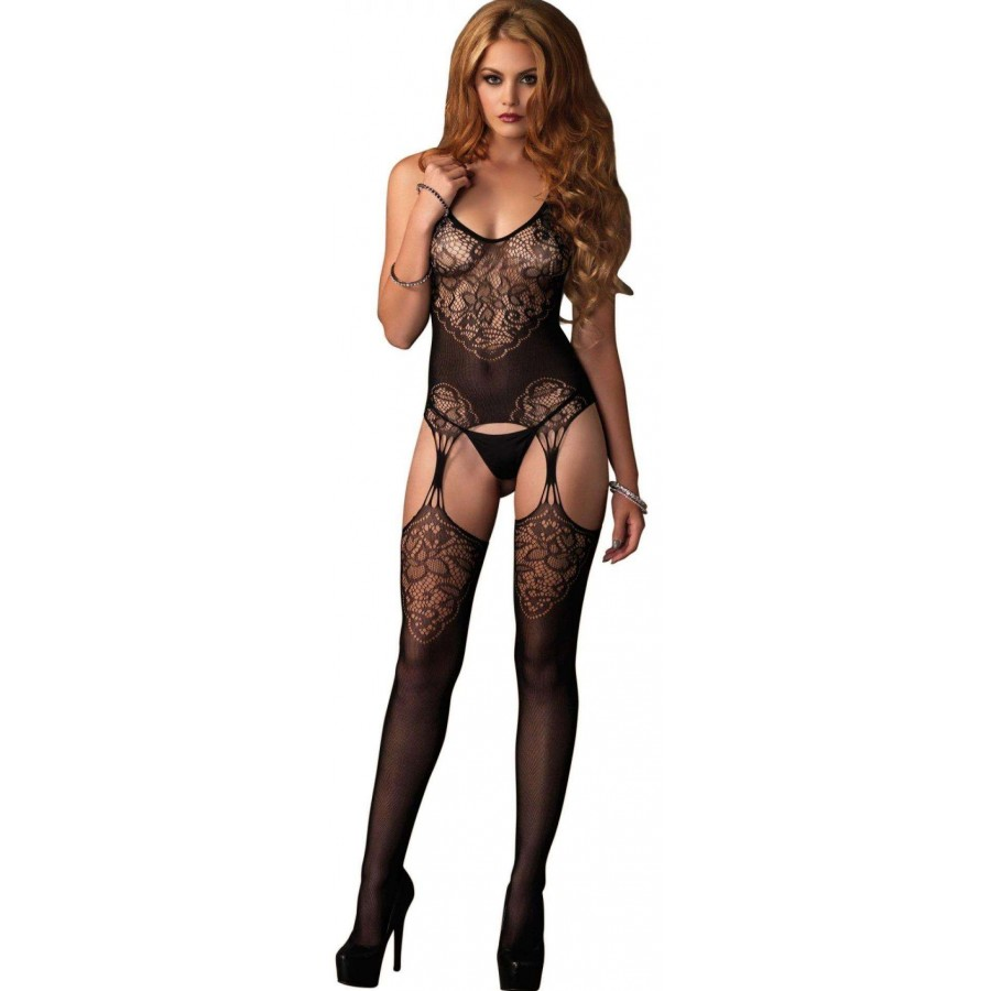 68ca8e01aaf Jacquard Lace Black Suspender Bodystocking at LABEShops