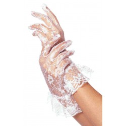 White Ruffled Lace Wrist Length Gloves LABEShops Home Decor, Fashion and Jewelry