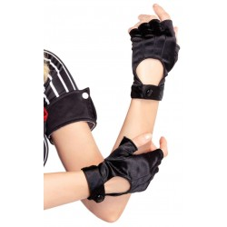 Fingerless Black Snap Satin Gloves LABEShops Home Decor, Fashion and Jewelry