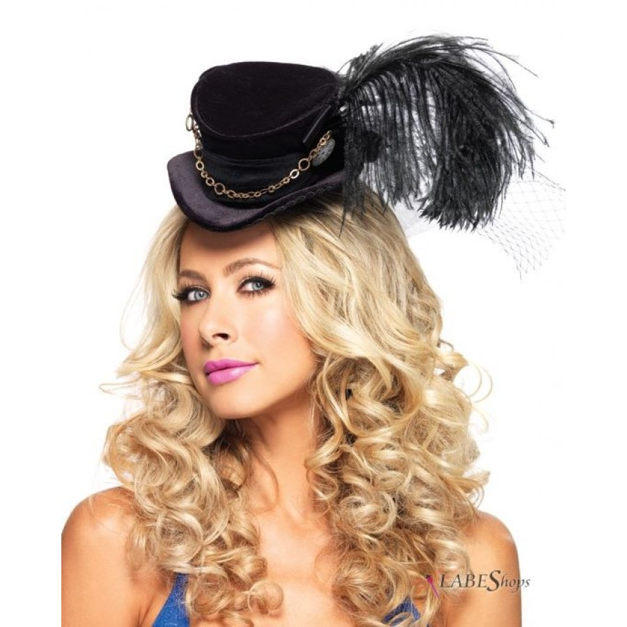 Black Steampunk Top Hat with Feather Accent - Womens Top Hat a2e0aca6a40