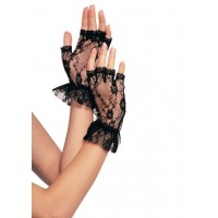 Ruffled Lace Wrist Length Fingerless Gloves