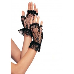 Ruffled Lace Wrist Length Fingerless Gloves LABEShops Home Decor, Fashion and Jewelry