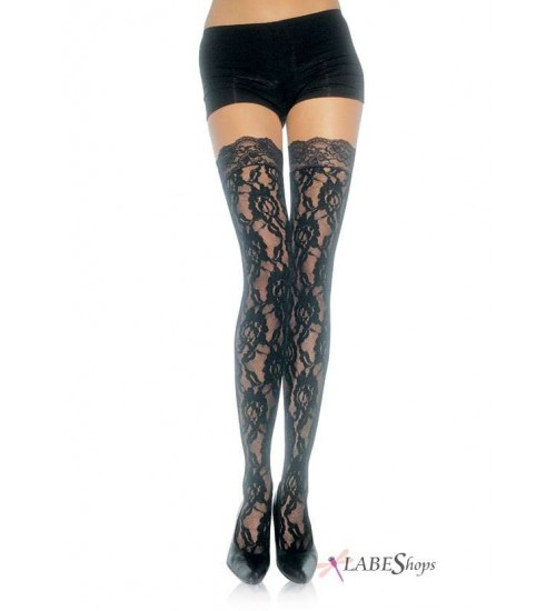 Black Rose Lace Thigh High Stockings