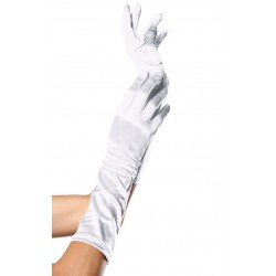 White Satin Elbow Length Gloves LABEShops Home Decor, Fashion and Jewelry