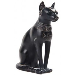 Bastet Egyptian Cat Goddess Basalt Finish Statue