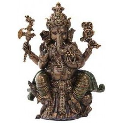 Seated Ganesha Hindu God Bronze 8 Inch Statue LABEShops Home Decor, Fashion and Jewelry Direct to You