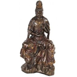 Water and Moon Kwan Yin Bronze Resin Statue LABEShops Home Decor, Fashion and Jewelry