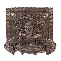 Cerridwen Cauldron Celtic Goddess 9 Inch Bronze Finish Plaque