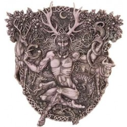 Cernunnos Horned God Celtic Wall Plaque Stone Finish