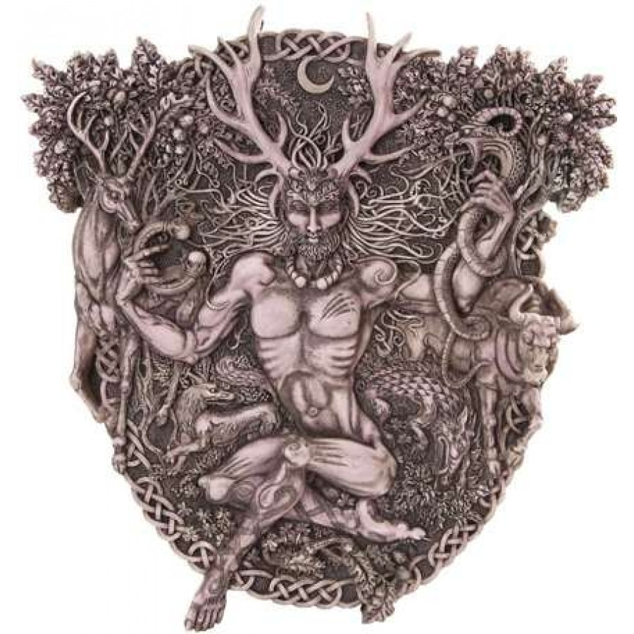 Cernunnos Horned God Celtic Wall Plaque Stone Finish At Labeshops Home Decor Fashion And
