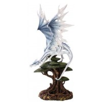 White Winged Dragon Tree Statue