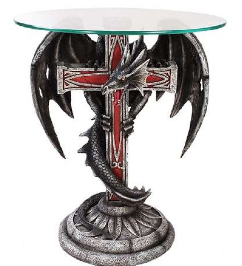 Dragon Cross Glass Top Accent Table at LABEShops, Home Decor, Fashion and Jewelry