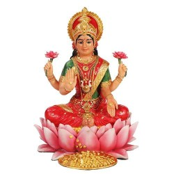 Lakshmi Hindu Goddess Seated on Lotus Statue LABEShops Home Decor, Fashion and Jewelry Direct to You