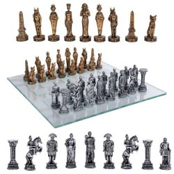 Egypt Vs Rome Chess Set with Glass Board LABEShops Home Decor, Fashion and Jewelry