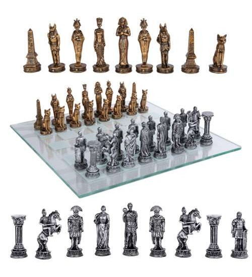 Egypt Vs Rome Chess Set with Glass Board at LABEShops, Home Decor, Fashion and Jewelry