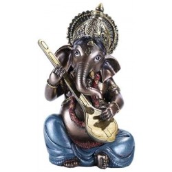 Ganesha with Lute Small Bronze Resin Statue LABEShops Home Decor, Fashion and Jewelry Direct to You