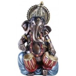 Ganesha with Drums Small Bronze Resin Statue LABEShops Home Decor, Fashion and Jewelry Direct to You