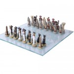 Romans vs Egyptians Chess Set with Glass Board at LABEShops, Home Decor, Fashion and Jewelry