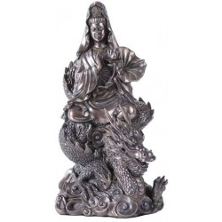 Kuan Yin on Dragon Bronze Resin 11 Inch Statue LABEShops Home Decor, Fashion and Jewelry