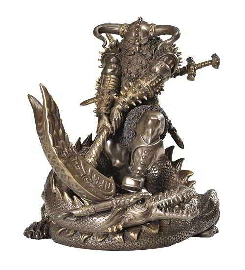 Thor, Norse God Slaying Dragon Statue at LABEShops, Home Decor, Fashion and Jewelry