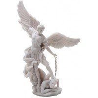 Archangel St Michael Slaying Evil 13 Inch White Statue