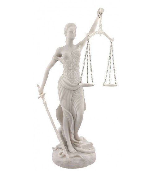 Lady Justice White Marble 10 Inch Statue