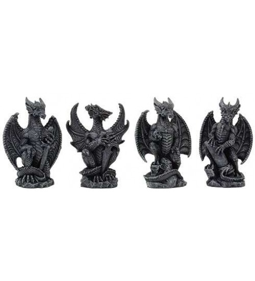 Mini Dragon Statue Set of 4 at LABEShops, Home Decor, Fashion and Jewelry