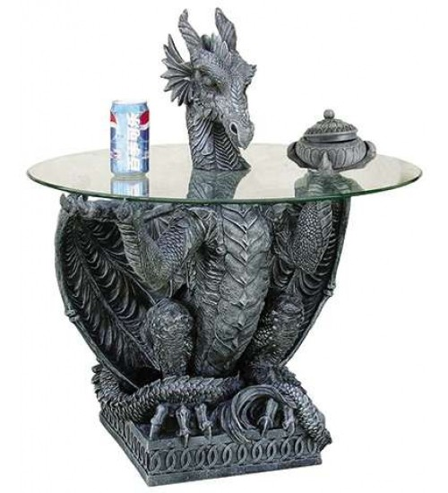 Dragon Side Table with Glass Top at LABEShops, Home Decor, Fashion and Jewelry