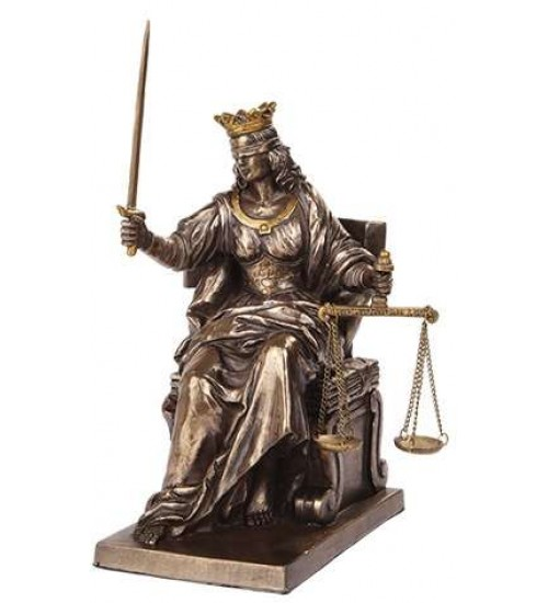 Lady Justice Seated with Scales Bronze Statue at LABEShops, Home Decor, Fashion and Jewelry