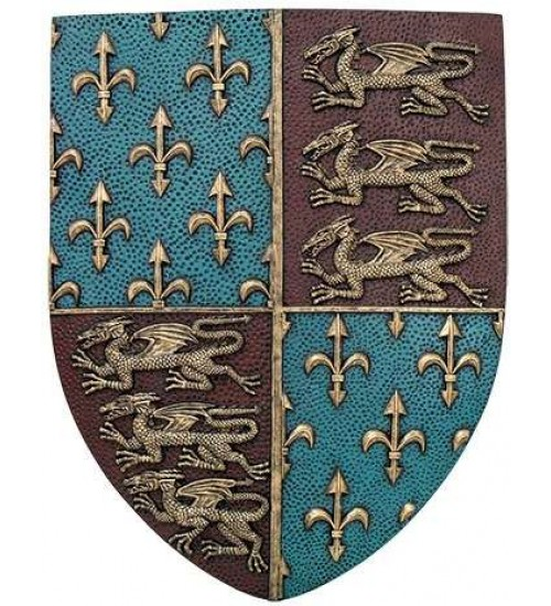 Fleur de Lis and Lions Medievel Knights Shield Plaque at LABEShops, Home Decor, Fashion and Jewelry