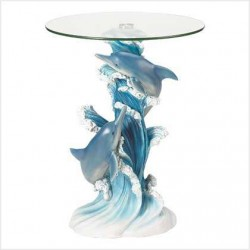 Playful Dolphins Glass Top Accent Table LABEShops Home Decor, Fashion and Jewelry