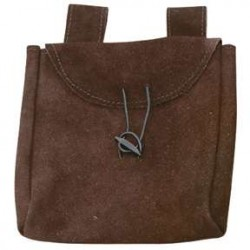 Brown Suede Large Belt Pouch