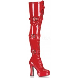 Electra Red Buckled Thigh High Platform Boots LABEShops Home Decor, Fashion and Jewelry