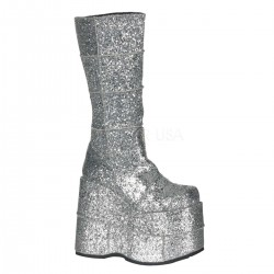Sllver Glittered Mens Platform Patched Knee Boot LABEShops Home Decor, Fashion and Jewelry