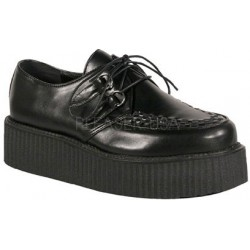 Black Faux Leather Mens Basic Creeper Loafer