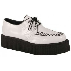 White Faux Leather Mens Basic Creeper Loafer