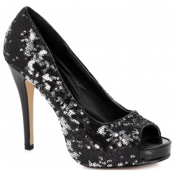 Black Flamingo Sequin Peep Toe Pumps LABEShops Home Decor, Fashion and Jewelry