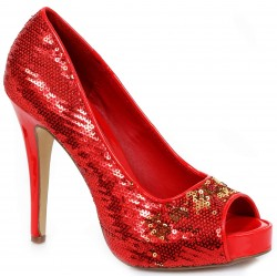 Red Flamingo Sequin Peep Toe Pumps LABEShops Home Decor, Fashion and Jewelry