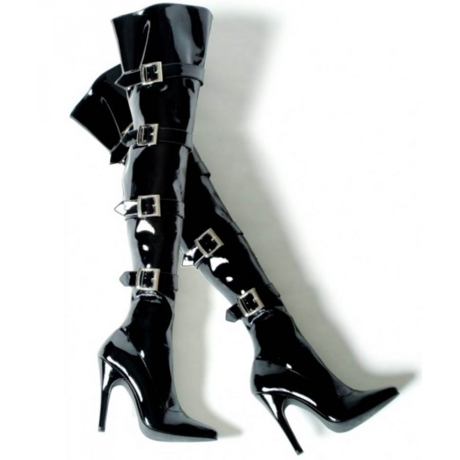 Gothic Thigh High Black Boots with Buckles - Sexy Womens Boots