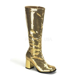 Spectacular Gold Sequin Covered Gogo Boots LABEShops Home Decor, Fashion and Jewelry