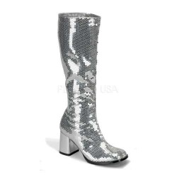 Spectacular Silver Sequin Covered Gogo Boots LABEShops Home Decor, Fashion and Jewelry