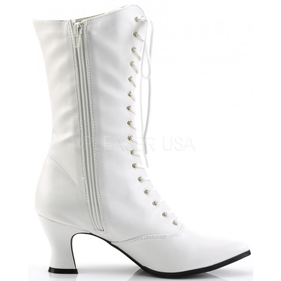 White Victorian Ankle High Granny Boot | White Steampunk Boots