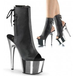 Chrome Heel Black Peep Toe and Heel Platform Ankle Boot LABEShops Home Decor, Fashion and Jewelry