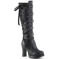 Crypto Black Lace Overlay Knee Boot