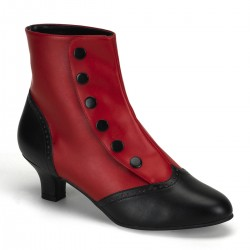 Flora Red and Black Womens Spats Victorian Ankle Boots