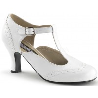 Flapper White Kitten Heel T-Strap Pump