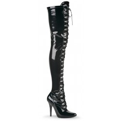 Seduce Black Patent Lace Up Thigh High Boots LABEShops Home Decor, Fashion and Jewelry