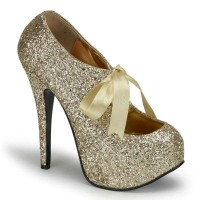Teeze Gold Glittered Platform Pump