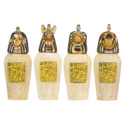 Set of 4 Mini Egyptian Canopic Jars LABEShops Home Decor, Fashion and Jewelry