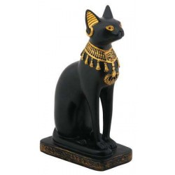 Bastet Black Cat with Lotus Collar Statue